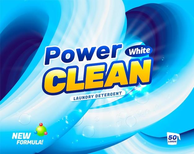 Modello di progettazione del pacchetto per detersivo per bucato polvere per il lavaggio della biancheria bianca