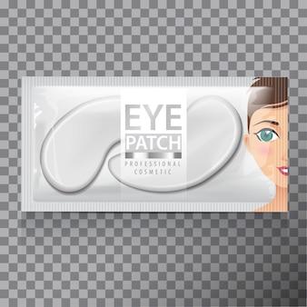 Confezione di patch idratanti per il gel sotto gli occhi. illustrazione di realistiche patch di gel per gli occhi su sfondo trasparente