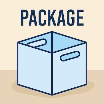 Testo del pacchetto e una grande scatola aperta