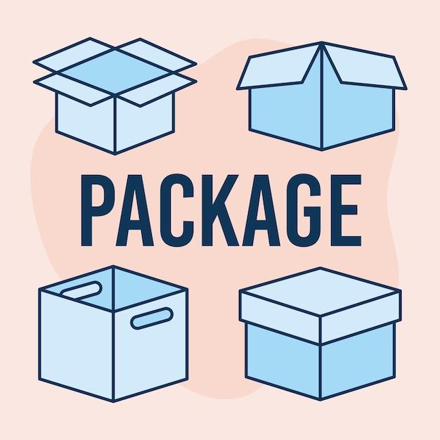 Testo del pacchetto e set di icone di caselle