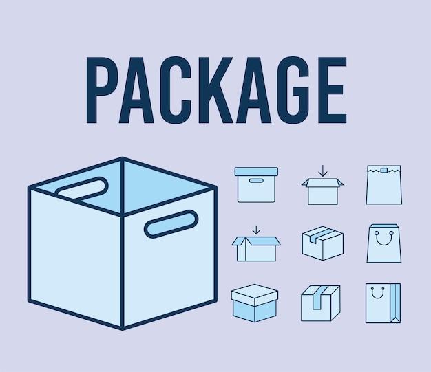 Testo del pacchetto e set di icone di pacchetti
