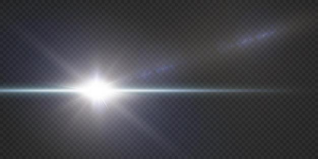 Confezione con riflessi blu orizzontali. raggi laser al neon, raggi orizzontali di luce blu. stelle al neon