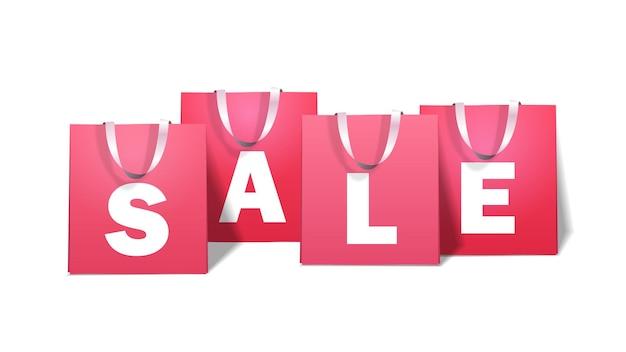 Pacchetti per gli acquisti sacchetti della spesa di carta offerta speciale vendita sconto concetto illustrazione orizzontale