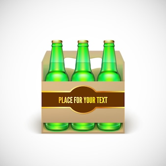 Confezionamento di birra. bottiglie verdi realistiche