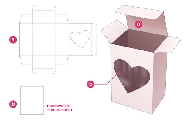 Scatola da imballaggio e finestra a cuore con sagoma fustellata in foglio di plastica trasparente