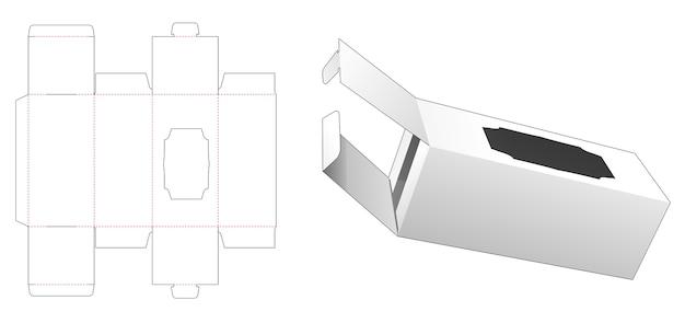 Scatola di imballaggio con 2 flip e modello fustellato per finestra di lusso