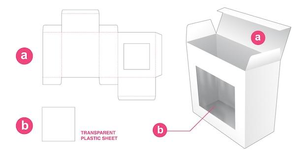 Scatola da imballaggio con sagoma fustellata con finestra rettangolare