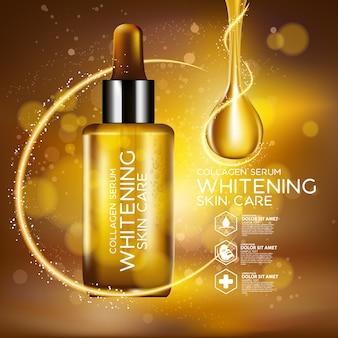 Mockup di packaging design, goccia d'oro di siero per bellezza e concetto cosmetico