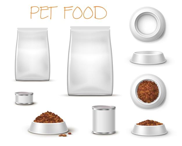 Ciotola per imballaggio e mangime, piatti realistici per alimenti per animali domestici e imballaggi 3d vista frontale e dall'alto isolata.