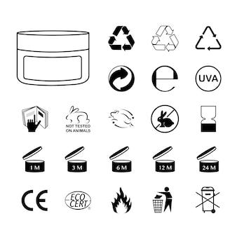 Imballaggio set di icone vettoriali mobius green dot tidyman pao alu ce plastic e altro