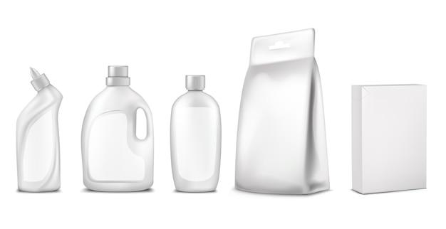 Imballaggio, design della confezione. bottiglia bianca, bustina, scatola, contenitore per la pulizia