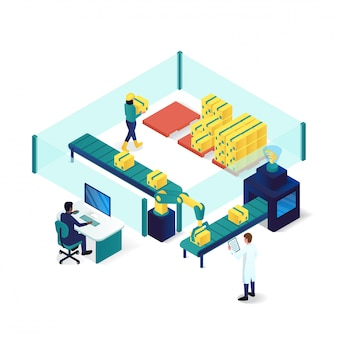 Illustrazione isometrica di industria e tecnologia di processo di imballaggio