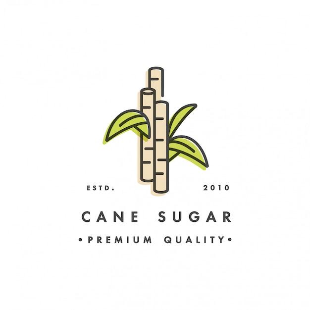 Logo e emblema del modello di imballo - produzione di zucchero - zucchero di canna. logo in stile lineare alla moda.