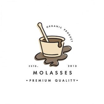 Logo e stemma modello di imballo - sciroppo e topping - melassa. logo in stile lineare alla moda.