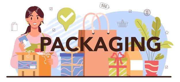 Intestazione tipografica di imballaggio. imballaggio dei prodotti per la vendita