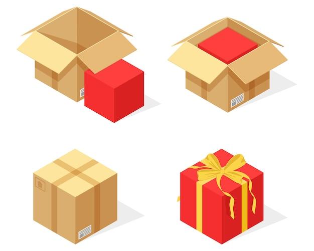 Imballaggio di un pacco di cartone come regalo