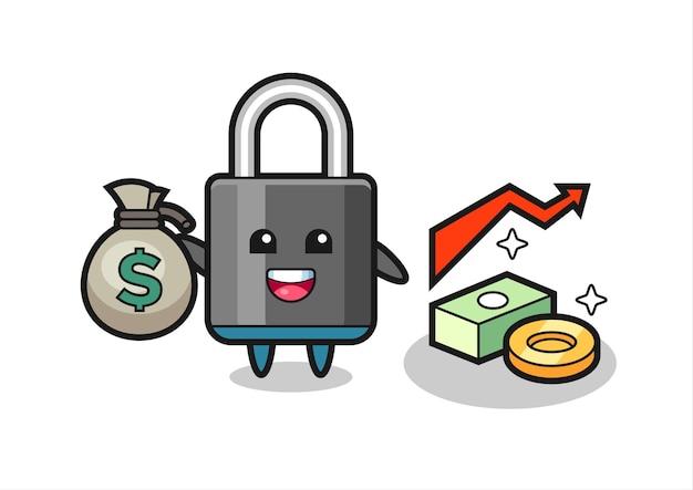 Fumetto dell'illustrazione del lucchetto che tiene il sacco dei soldi, disegno di stile carino per maglietta, adesivo, elemento logo