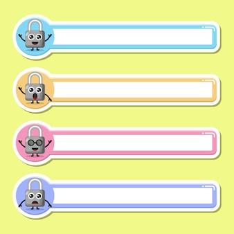Etichetta lucchetto etichetta nome simpatico personaggio mascotte