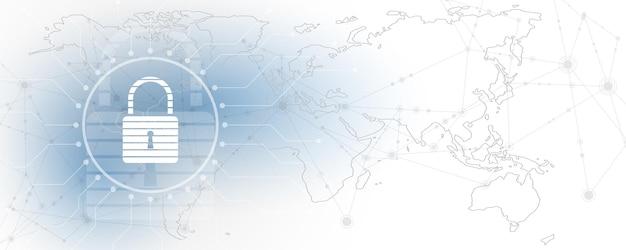 Concetto digitale cyber di sicurezza del lucchetto il fondo astratto di tecnologia protegge l'illustrazione di vettore dell'innovazione del sistema