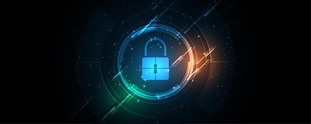 Il concetto digitale cyber di sicurezza del lucchetto, fondo astratto di tecnologia protegge l'innovazione del sistema