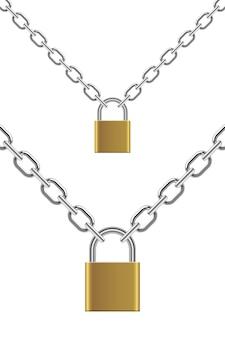 Lucchetto con l'illustrazione a catena su fondo bianco Vettore Premium