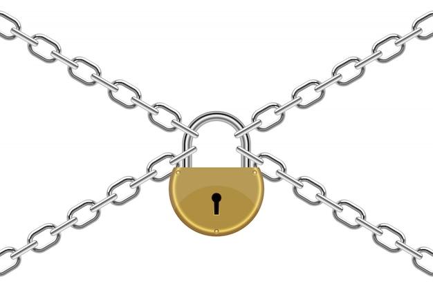 Lucchetto con l'illustrazione a catena su fondo bianco