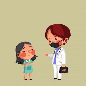 Il pediatra controlla il suo paziente