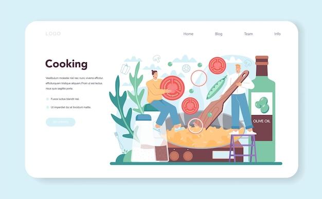 Banner web o pagina di destinazione della paella. piatto tradizionale spagnolo con frutti di mare e riso su un piatto. chef che cucinano una cucina gourmet sana. illustrazione vettoriale isolato in stile cartone animato