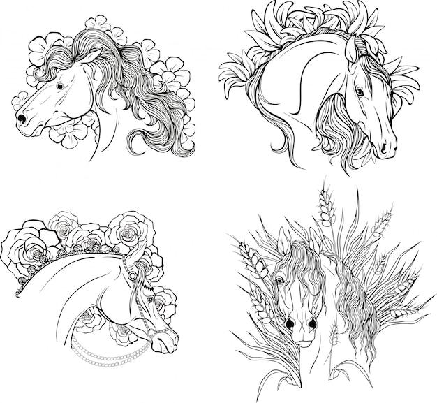 Pagina che colora i ritratti dei cavalli