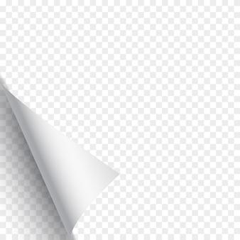 Pagina arricciata su sfondo trasparente. carta bianca. illustrazione.