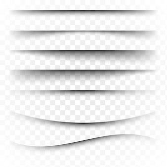 Divisore di pagina con ombre trasparenti isolate. set di separazione pagine. illustrazione realistica ombra trasparente