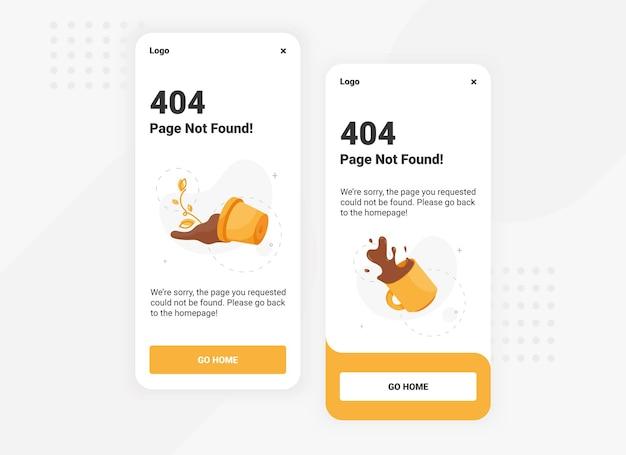 Pagina non trovata modello di banner di errore 404 per il design dell'interfaccia utente della versione mobile