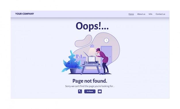Messaggio di errore della pagina non trovato per l'illustrazione del sito web. avviso di avviso, problema di connessione di rete, pagina di destinazione degli errori di ricerca in internet