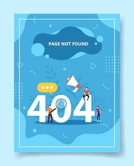 Pagina non trovata persone portano lente d'ingrandimento, poster.