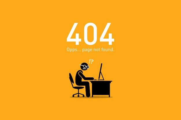 Pagina non trovata. la grafica vettoriale raffigura uno scenario divertente e divertente con una figura stilizzata umana per l'errore di richiesta http del sito web.