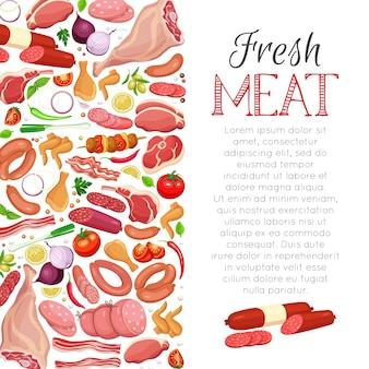 Prodotti a base di carne modello di pagina con verdure e spezie