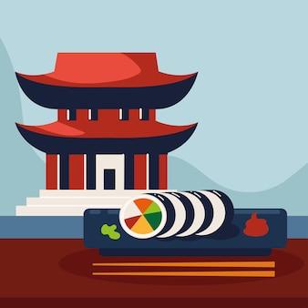 Edificio pagoda e sushi