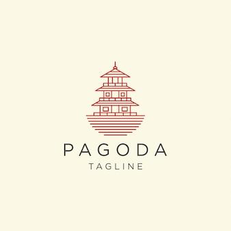 Illustrazione del modello di progettazione dell'icona di logo del tempio del giappone della pagoda