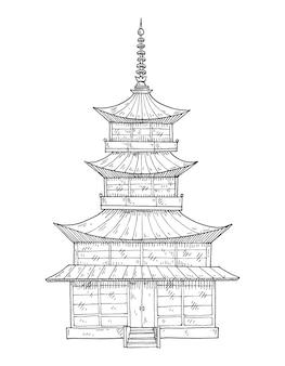 Pagoda tempio giapponese vintage incisione vettoriale isolato su bianco