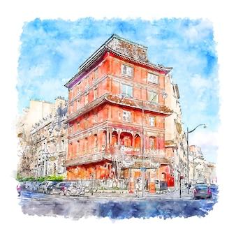 Illustrazione disegnata a mano di schizzo dell'acquerello di pagoda parigi francia