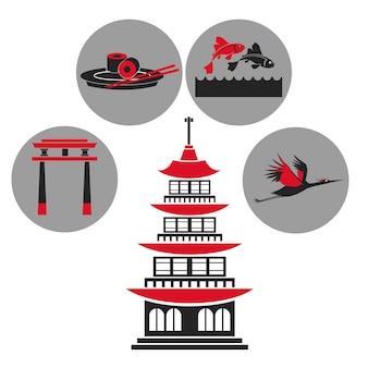 Icone tradizionali dell'emblema di architettura giapponese della costruzione della pagoda