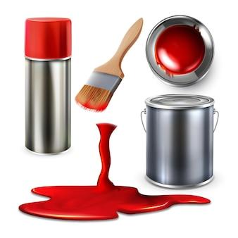Vernice vuota bottiglia spray e contenitore vettore impostato. collezione di secchio di vernice, pennello e acquerello che cade. accessorio artistico per modello di pittura e disegno illustrazioni 3d realistiche