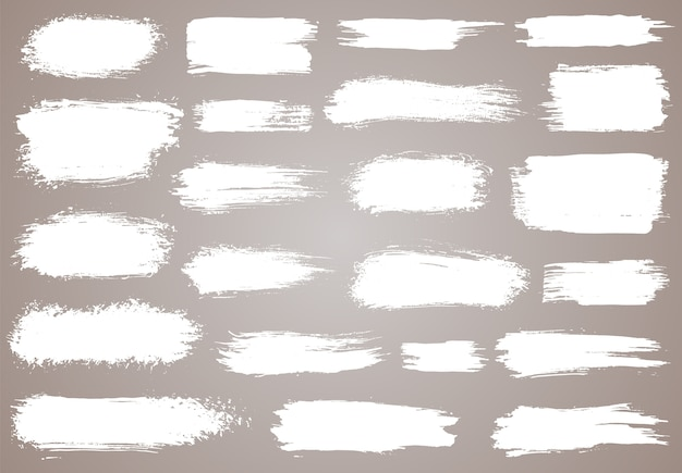 Pennello. pennellate di inchiostro bianco grunge.