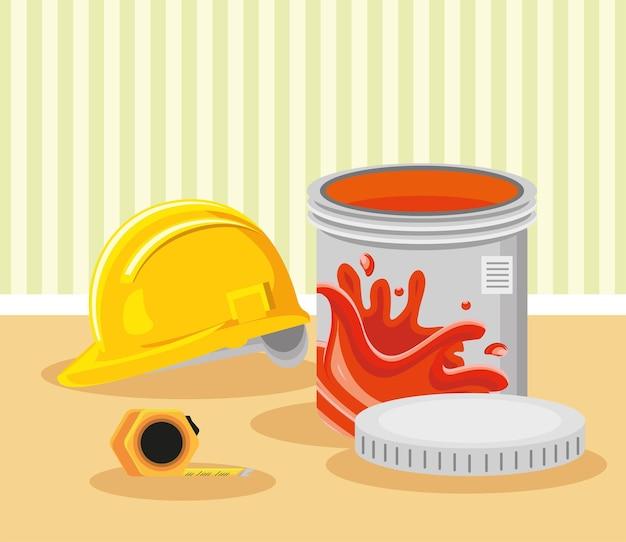 Secchio di vernice e casco