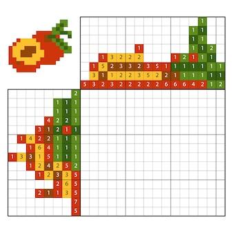 Dipingi per numero puzzle (nonogram), gioco educativo per bambini, albicocca