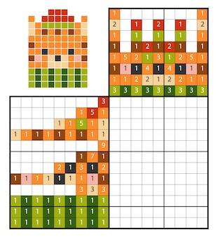 Dipingi per numero puzzle (nonogram), gioco educativo per bambini, cat