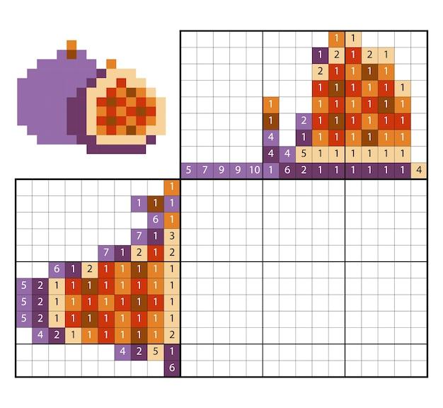 Dipingi per numero puzzle (nonogram), gioco educativo per bambini, figs