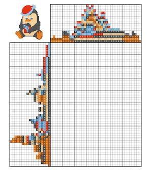 Dipingi per numero puzzle (nonogram), gioco educativo per bambini, penguin