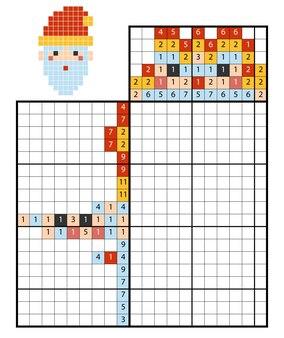 Dipingi per numero puzzle (nonogram), gioco educativo per bambini, babbo natale