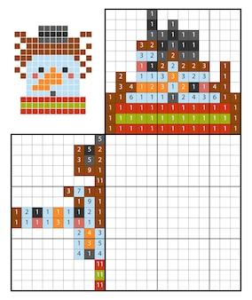 Dipingi per numero puzzle (nonogram), gioco educativo per bambini, pupazzo di neve